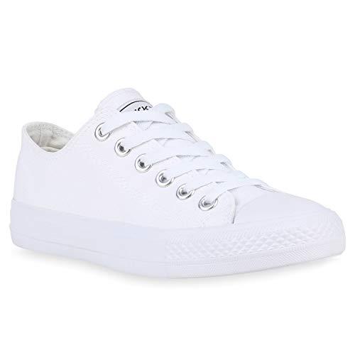 stiefelparadies Damen Sneakers Low Canvas Schuhe Turnschuhe Freizeit 172636 All Weiss Ambler 43 Flandell