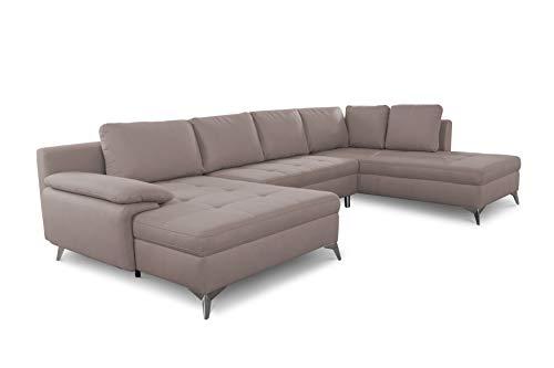 CAVADORE Wohnlandschaft Lina / U-Form Sofa mit Schlaffunktion, Bettkasten und Steppung im Sitz / leichte Fleckentfernung dank Soft Clean / 326 x 85 x 201 / Braun