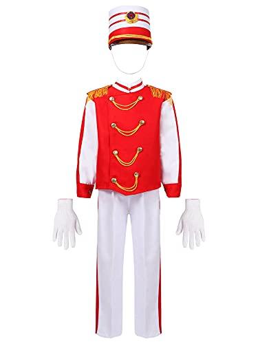 IEFIEL Disfraz de Directora de Circo para Nia Conjuntos de Disfraz de Majorette de Tambor para Fiesta Naidad Halloween Carnaval Traje de Soldado Imperial Tipo A Rojo 9-10 aos