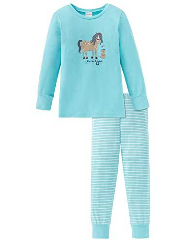 Schiesser Mädchen Ponyhof Md Anzug lang Zweiteiliger Schlafanzug, Blau (Türkis 807), (Herstellergröße: 116)