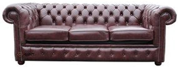 Designer Sofas4u Chesterfield 3 Seater Antiguo Inglés Rojo o ...