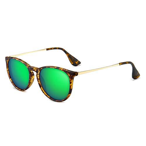 SUNGAIT Vintage Round Sunglasses for Women Men Classic Retro Designer Style (Polarized Green Mirror Lens/Amber Frame(Matte Finish)) 1567 PGHPKLV
