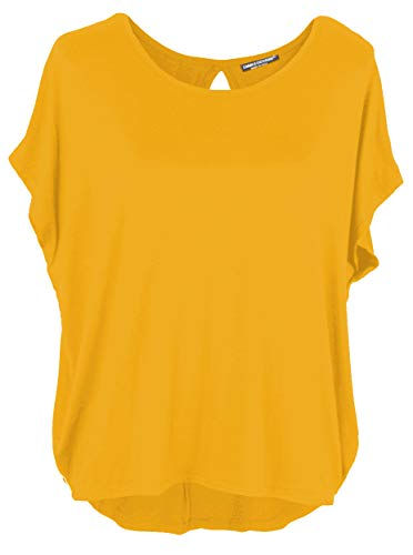 Emma & Giovanni Damen Basic Sommer T-Shirt/Oberteile Kurzarm, Senf, Gr.- DE 38-40 (Herstelleretikett M)