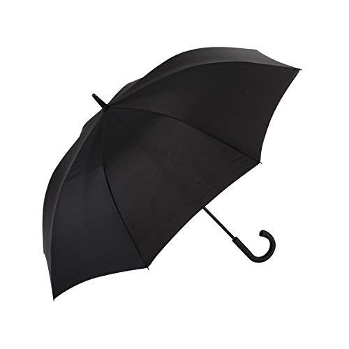 EZPELETA Paraguas Largo de Hombre. Antiviento, automático y con puño Curvo de plástico. Tejido Liso Negro - Negro