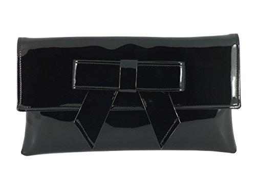 LONI - Bolso elegante de mano de piel sintética con acabado de charol, negro (Negro) - 4331332607