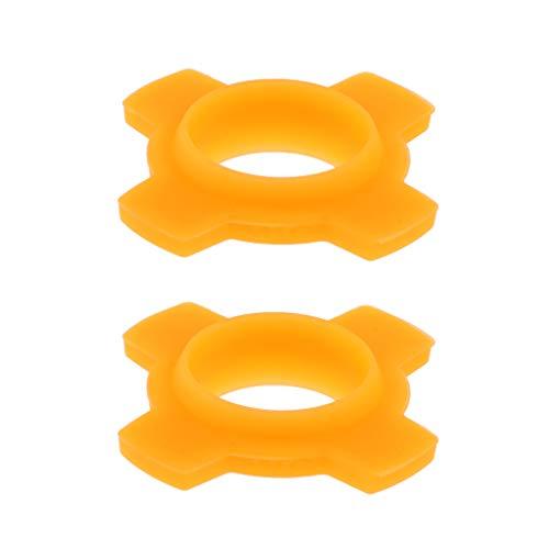 FLAMEER 2pcs Embouts Micro Anti-Rolling Bague de Protection en Silicone à Compartiments Alléger Chocs Bosses pour Microphone karaoké DJ - Orange