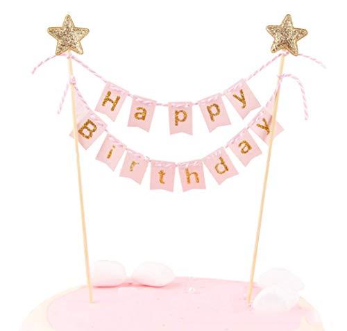 Pancarta decorativa para tarta de cumpleaños, hecha a mano con bandera de color marfil y postes de madera, perfecta para tartas, pasteles de donut, cupcakes y mucho más. rosa