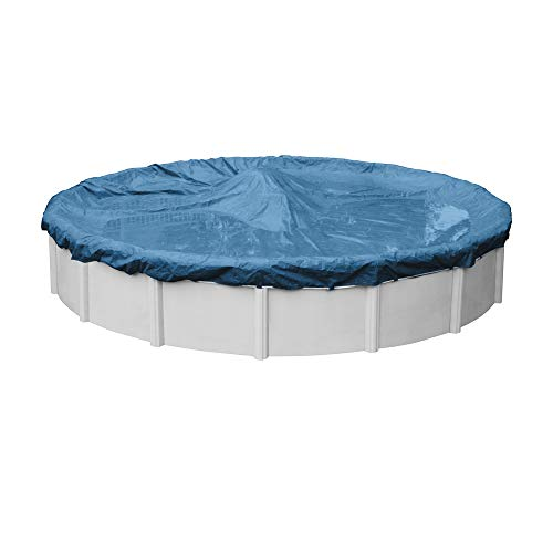 Pool Mate 3528-4PM Heavy-Duty Blue Winter Pool Cover for Round Above Ground Swimming Pools, 28-ft. Round Pool