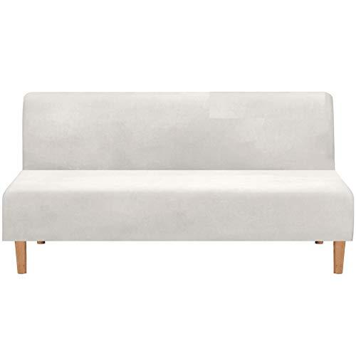 Sofabezug Ohne Armlehnen 3 Sitzer, Spandex Couch Bezug Ohne Armlehne Elastischer Antirutsch Stretchhusse, Bettcouch Schonbezug Einfarbig (Weiß)