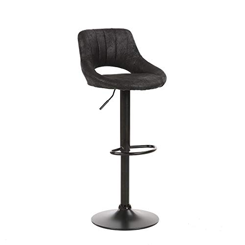 Swivel Height Gas Lift Bar Chairs, PU Matte Leather, Simple Elegant Footrest Backrest Bar Chairs, Breakfast Kitchen Counter Home Bar Stools,Black