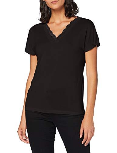 VERO MODA Damen VMSOFIA SS LACE V-Neck TOP GA Color T-Shirt, Black, S