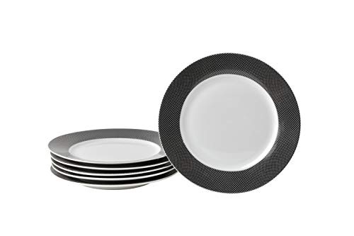 Deagourmet 208 Saturno Tramo Negro Juego de 6 Platos de Postre de Porcelana, Cartón, Color Blanco