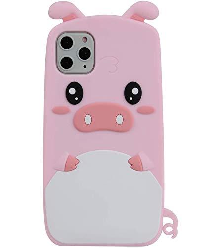 TopFunny Hüllen Kompatibel mit iPhone 12 Pro Max Hülle Silikon 3D Cute Cartoon Design Weich TPU Slim Fit Gummi Bumper Stoßfest Cover Kompatibel mit Apple iPhone 12 Pro Max 2020 6,7 Zoll Cute Pig
