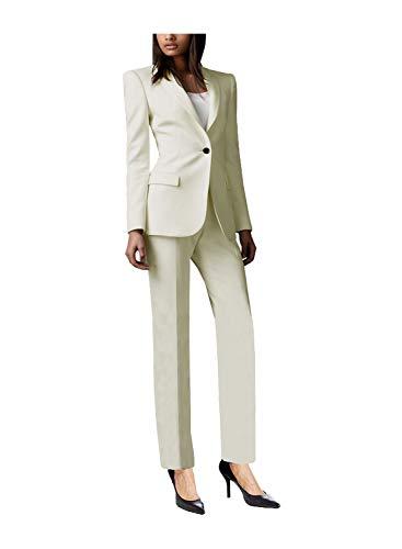 Damen Slim Fit Suits 2-Piece Blazer Hosen Jacke Anzug Set Office Lady Business Formal Work Wear(XXL, Elfenbein)
