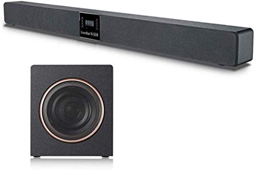 Moda Feliz barra de sonido de televisión de barra de sonido con subwoofer 2.1 barra de sonido con conexión de cable inalámbrico Bluetooth 4.2Speaker for la TV HDMI / Aux / Bajo ajustable de sonido env
