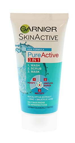 Garnier Pure Active - Exfoliante 3 en 1, 50 ml