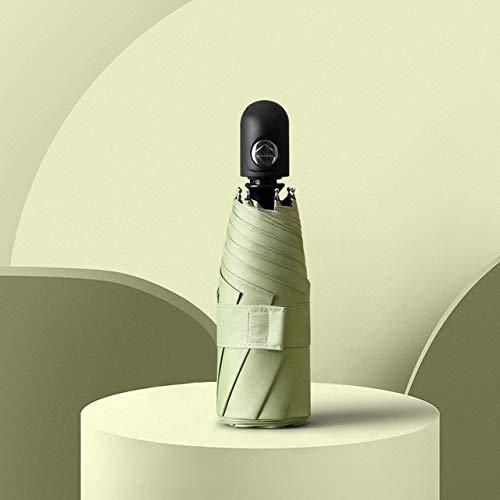 Mdsfe New Cute Automatic Mini Regenschirm Regen Frauen UV-Schutz Fünf Klappschirme Sonne Bunt 8 Rippen Winddichter Sonnenschirm- grün