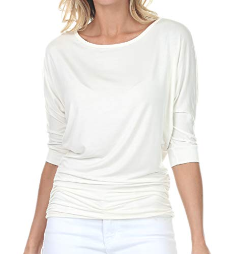 Hand Wash Cold / Do Not Bleach / Lay Flat Dry Features: Boat Neck, V-Neck, 3/4 Sleeve, Elastic shirring details at sides, Soft, Stretchy, Lightweight, Comfortable and Thin Material Occasion: Casual/Beach/Party/Daily/Office/Formal/Home/Date Please che...