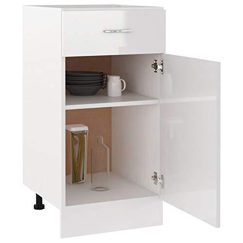 Tidyard Küchenschrank 2 Regalböden 1 Schublade Schrank Küchenzeile Küchenmöbel Schubladenschrank Lagerschrank Hochglanz-Weiß 40x46x81,5cm Spanplatte