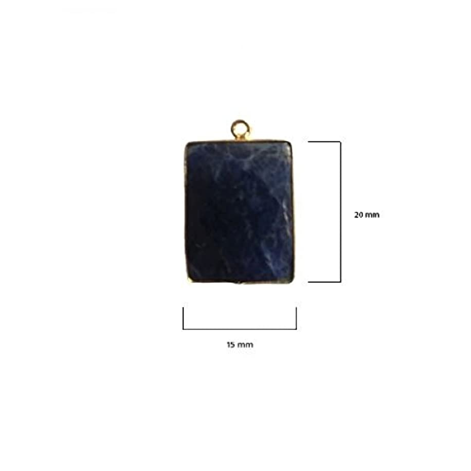 2 Pcs Natural Sodalite Rectangle Beads 15X20mm 24K Gold Vermeil by BESTINBEADS, Natural Sodalite Rectangle Pendant Bezel Gemstone Connectors Over 925 Sterling Silver Bezel Jewelry Making Supplies