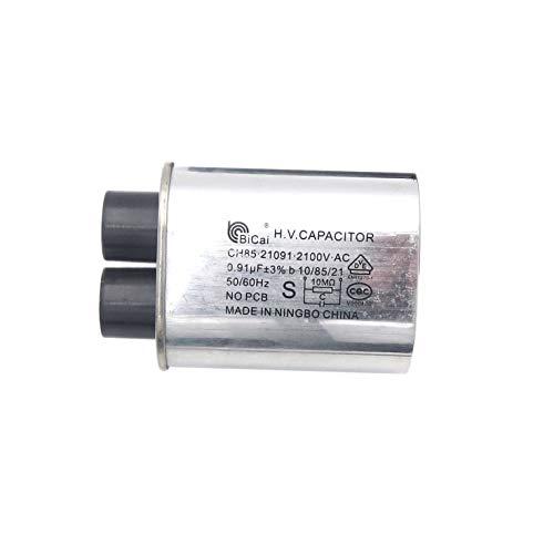 Medidor estrella CQC universal hogar microondas alto voltaje condensador reemplazo 2100 V 0.91uF MFD compatible ch85 21091 AC H.V.condensador 10/85/21 50/60Hz sin PCB