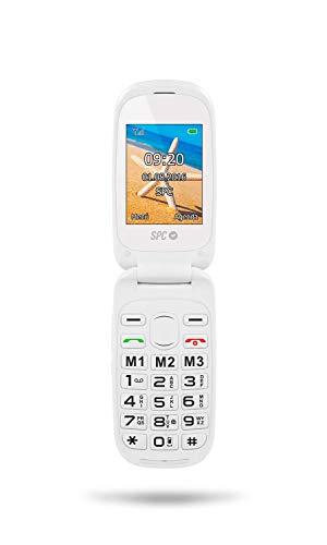 SPC Harmony - Teléfono móvil (Dual SIM, Números y letras grandes, 3 memorias directas, 5 números SOS, cámara de fotos) – Color Blanco