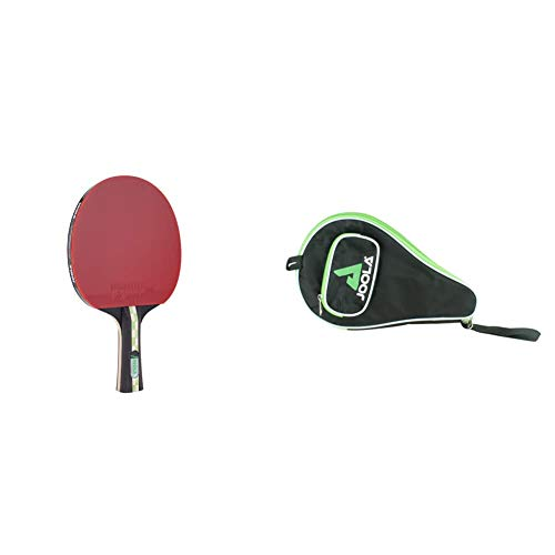 JOOLA TT Mega Carbon ITTF zugelassener Tischtennis-Schläger für Fortgeschrittene Spieler-Carbowood Technologie, 2,0 MM Schwamm & Tischtennishülle TT-Hülle Pocket, Green
