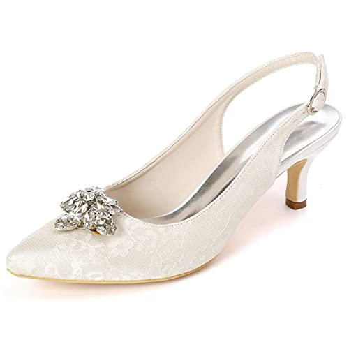 Zapatos De Novia Mujer Puntilla Diamante de imitación Slingback Tacón Alto Zapatos...