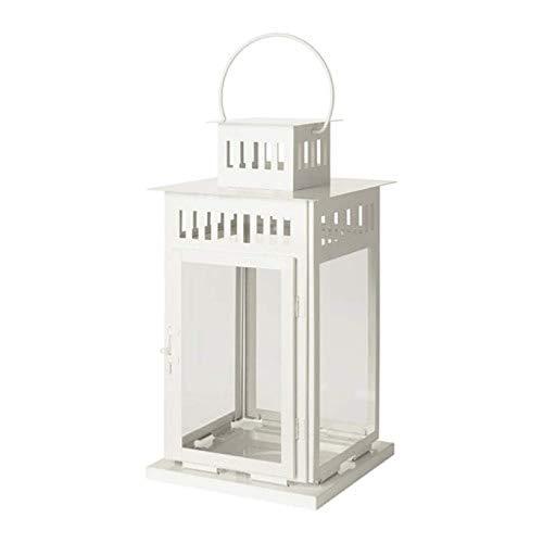 Ikea Borrby Laterne für Blockkerze, Weiß, für Innen- und Außenbereich, 902.701.44 Größe 17, 2,5 cm