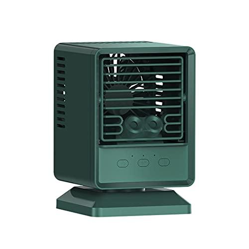 Flashing Mini acondicionador de Aire portátil Ventilador USB Desktop Fan de enfriamiento de Aire Personal Humidificador de humidificador Oficina (Color : Green, Size : 185 * 120 * 120mm)