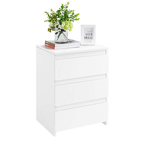 Yaheetech White Bedside/Side/End Tables with 3 Drawers & Storage Cubes for Living Room Bedroom Nightstand Table 45 x 35 x 60.5 cm