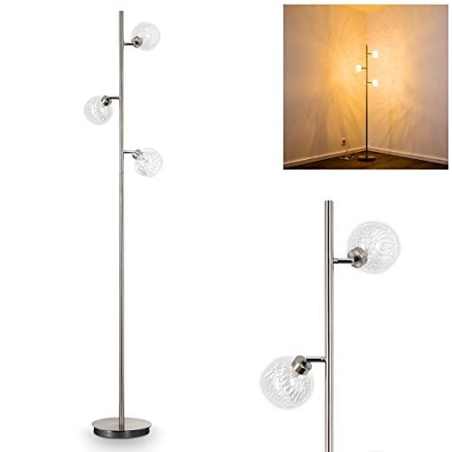Lampadaire Iskuras en métal/nickel mat - Luminaire à 3 lampes pivotantes individuellement - avec interrupteur au pied sur câble