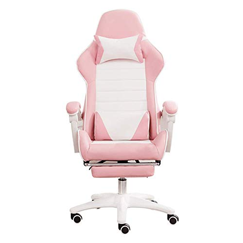 ZYLZL Chair E-Sports Chair Gaming Office Ergonomics E-Sports Player Chair With Footrest Reclining Height Adjustable With Headrest And Lumbar Support Desktop Gaming Chair,Pink White