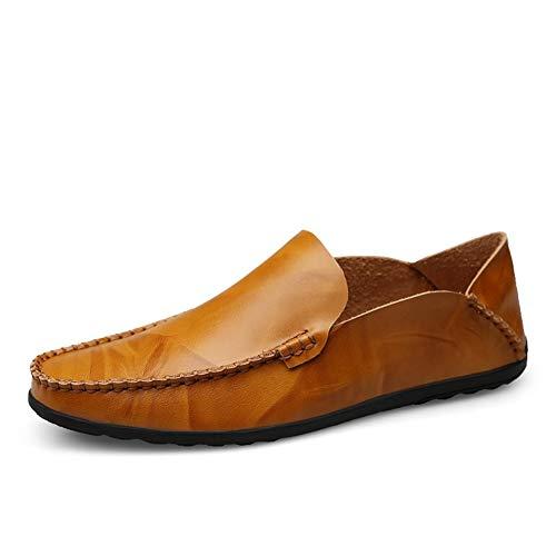 HHF Mocasines y Oxfords de Ocio, Mocasines de conducción Modernos clásicos súper Flexibles for Hombres, Zapatos náuticos sin Cordones con Suela de Cuero sintético Cosido con Experiencia de Gommino