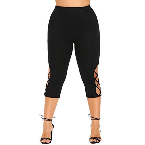 Homebaby Leggings Donna Fitness Push Up Taglie Forti - 3/4 Pantaloni da Yoga Donna Alta Vita Sportivi Allenamento Eleganti Ragazza Leggings Opaco Spandex Palestra Pantaloni