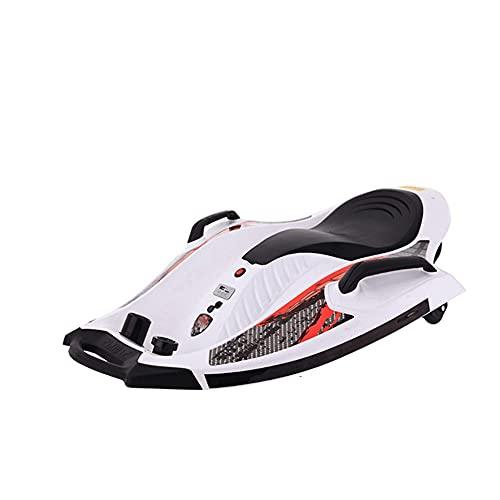 Scooter eléctrico para niños, Coche de Deriva, Kart de Tres Ruedas, Coche de Equilibrio eléctrico de platillo Volador pequeño, Monte eléctrico para niños para niños 4-8 (Color : White)