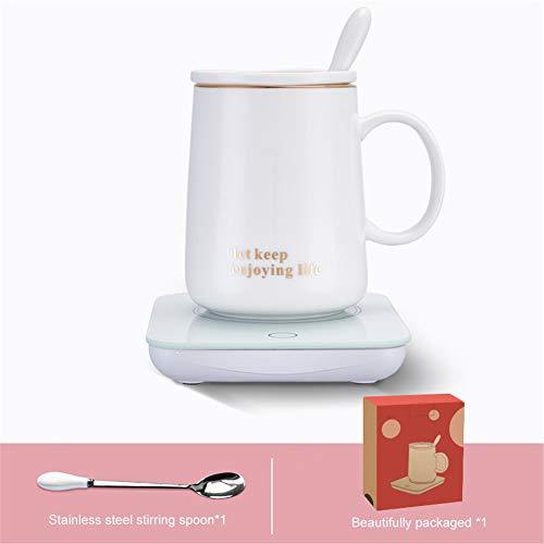 Luckylj Temperaturregelung Smart Mug, Elektrische Tasse Getränkewärmer Platte Mit 3 Temperatureinstellungen, Home, Office,Touchcoaster+Cup