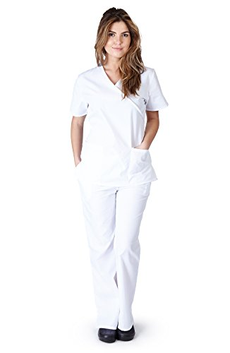 Natural Uniforms Women's Mock Wrap Scrub Set (White) (X-Large)