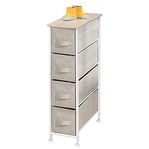 mDesign - Smal lådhurts - Hurts med lådor och avlastningsbord - Byrå för sovrummet, kontoret, hallen och garderoben - 4 lådor - Beige