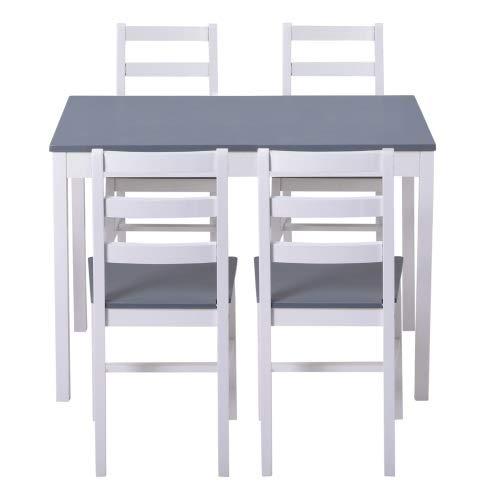 Yi-xir diseño Clasico Mesa de Comedor y sillas Conjunto de 4 Mesas y sillas de Cocina de Pino sustanciales. Conjunto de una Mesa y una Silla de Cuartos Comodo