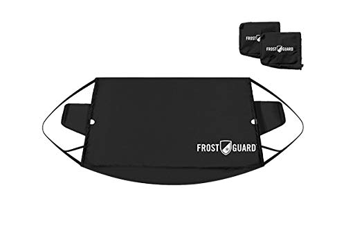 FrostGuard - Premium Winter Windshield Snow Cover with Security Panel and Wiper Cover, Protects from Snow, Ice and Frost (X-Large, Black)