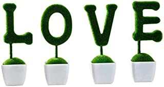 Seeds:Mini Artificial Plants Set Animals Rabbits Shaped Green Small Potted Plants Simulation Flower Pots for Table Window Decor : 4