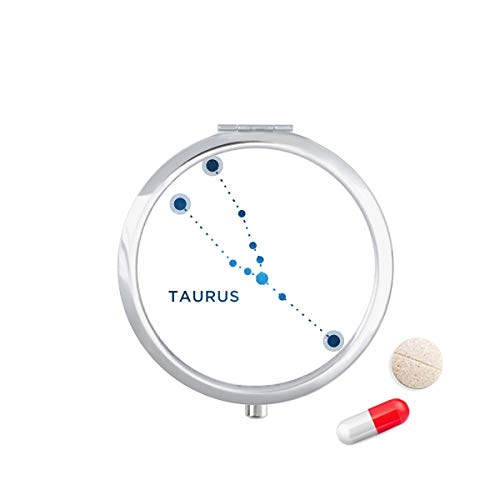 DIYthinker Taurus sterrenbeeld sterrenbeeld Zodiac Travel Pocket Pill Case Medicine Drug Opbergdoos Dispenser Spiegel Gift