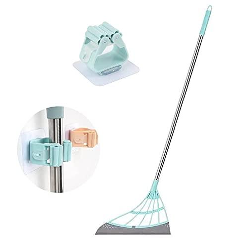 Nuaueaw, scopa magica multifunzione 2 in 1, scopa in silicone, scopa per raschiare, scopa per la casa, tergicristalli per WC, asciugare la superficie del pavimento e rimuovere sporco e capelli (verde)