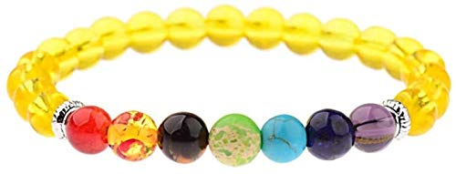 Pulsera de piedra Mujer, 7 Chakra 8mm Natural amarillo de cristal de granas de piedra Brazalete Elástico Brazalete Lucky Circle Jewelry Tibetan Mala reza Yoga Energía Reiki Charm Regalo para hombres J