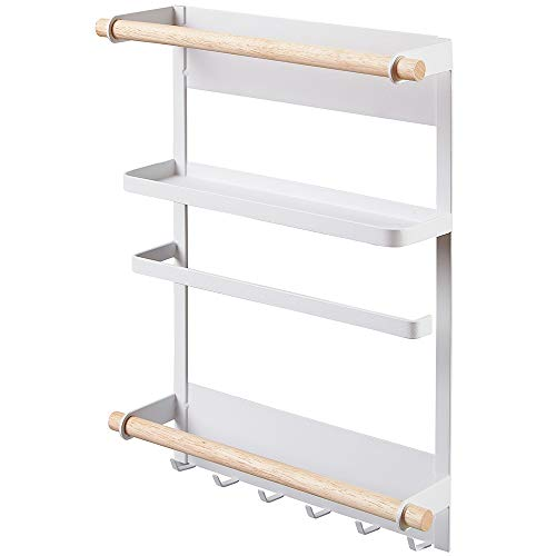 Spice Rack Magnetic Kitchen Fridge Shelf Jar Herb Rack Bathroom Organizer Refrigerator Side Towel Hanger Tissue Holder Paper Hanging Rack Washing Machine Storage 6 Hooks White