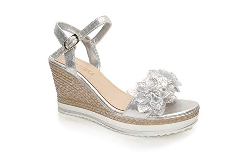 Womens Wedge Ladies Summer Floral Sandal Metallic Platform with Flowers Shoes Size UK Silver