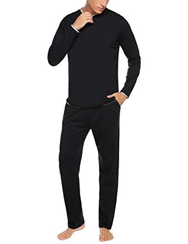 Hawiton Herren Zweiteiliger Schlafanzug lang Baumwolle Pyjama Set Nachtwäsche Langarm Hausanzug Sleepwear Schwarz S