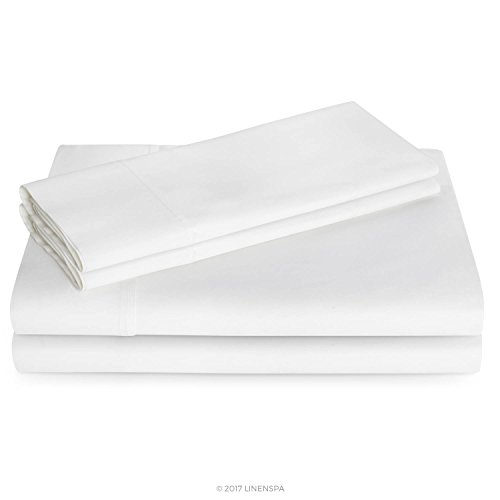 Linenspa 600 Thread Count Ultra Soft, Deep Pocket Cotton Blend Sheet Set - King - White