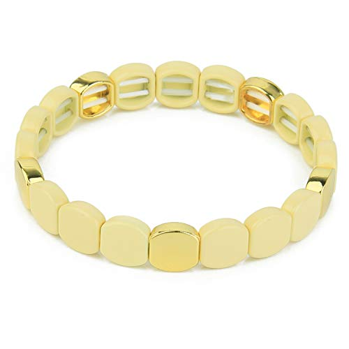 KANYEE Bling Stretch Armband Vergoldete Fliesen Perlen Armreif Stapelbarer Schmuck Freundschaftsgeschenk für Frauen Mädchen.